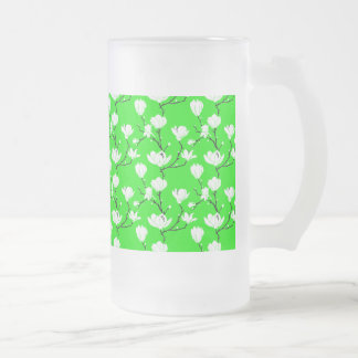 White Magnolia Blossoms on LIME GREEN Background Frosted Glass Beer Mug