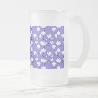 White Magnolia Blossoms on PURPLE Background Frosted Glass Beer Mug