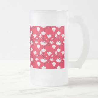 White Magnolia Blossoms on RED Background Frosted Glass Beer Mug