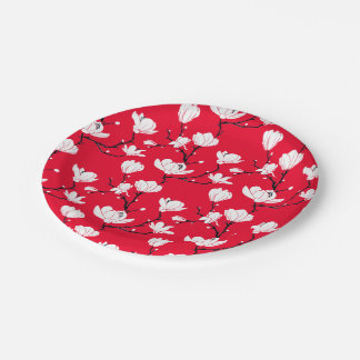White Magnolia Blossoms on RED Background Paper Plate