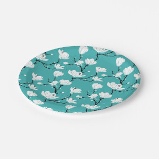 White Magnolia Blossoms on TEAL Background Paper Plate