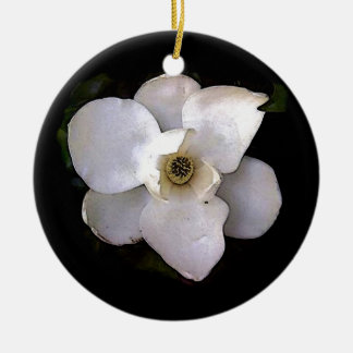 White Magnolia Ceramic Ornament