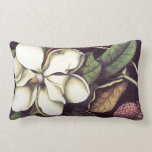 White Magnolia Floral Decorative Lumbar Pillow