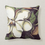 White Magnolia Floral Decorative Throw Pillow