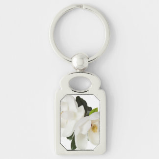 White Magnolia Flower Magnolias Floral Flowers Silver-Colored Rectangular Metal Keychain