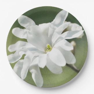 White Magnolia Flower Paper Plate