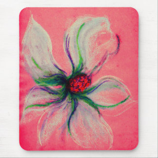 White Magnolia Flower Peach Background Mouse Pad