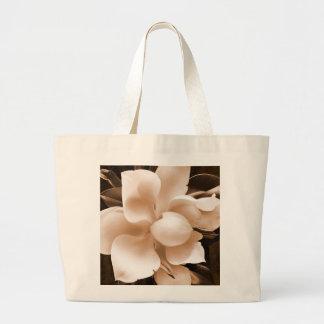 White Magnolia Flower Sepia Black Background Jumbo Tote Bag