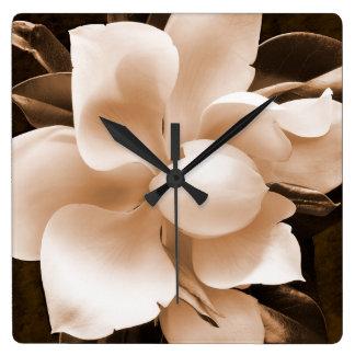 White Magnolia Flower Sepia Black Background Square Wall Clock