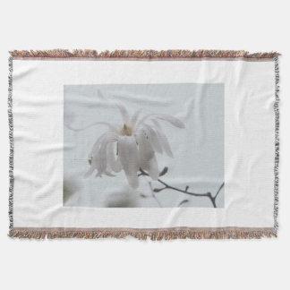 White magnolia flower throw blanket