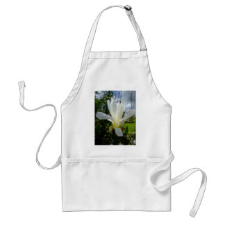 White Magnolia Flower with grey clouds Adult Apron