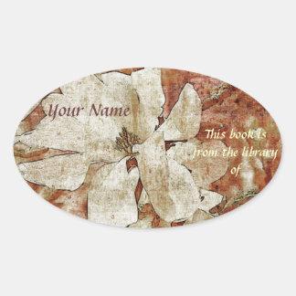 white magnolia library sticker plate