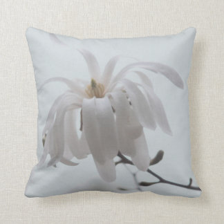 White magnolia photography throw pillow