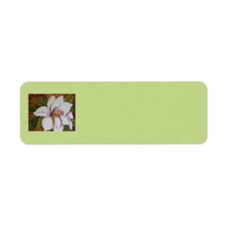 White Magnolia Return Address Label