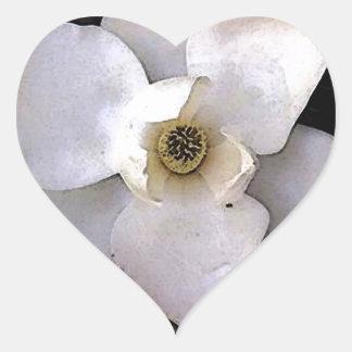 White Magnolia Heart Sticker