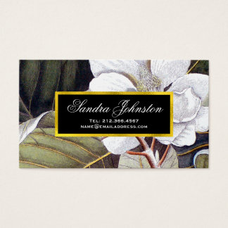 White Magnolia Vintage Botanical Business Card