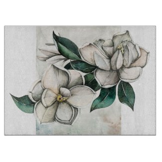 White Magnolias Botanical Glass Cutting Board