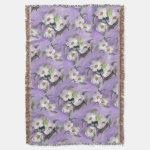 White Magnolias on a Lavender Background Throw