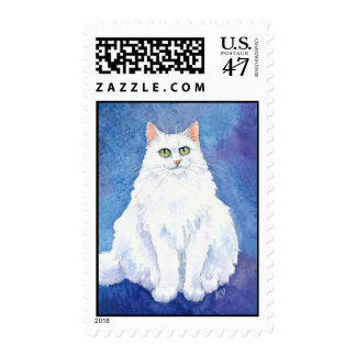White Maine Coon cat or kitten on blue purple Postage