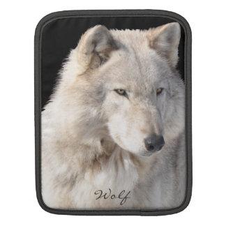 White Male Grey Wolf Wildlife iPad Sleeve