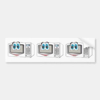 White Male Microwave Cartoon Bumper Sticker