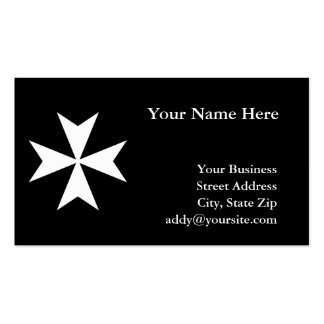 White Maltese Cross Double-Sided Standard Business Cards (Pack Of 100)