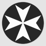White Maltese Cross Classic Round Sticker