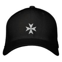 White Maltese Cross Embroidered Hat