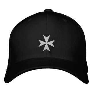 White Maltese Cross Embroidered Hat