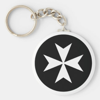 White Maltese Cross Keychain