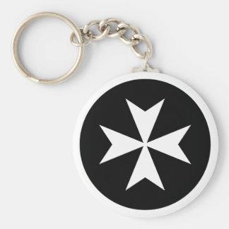 White Maltese Cross Keychain