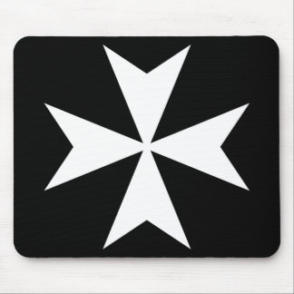 White Maltese Cross Mouse Pad