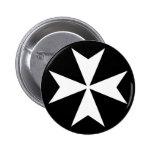 White Maltese Cross Pinback Button