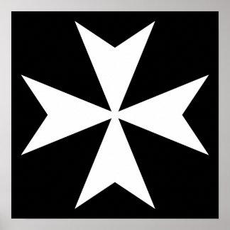 White Maltese Cross Poster