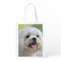 White Maltese Dog Grocery Bag