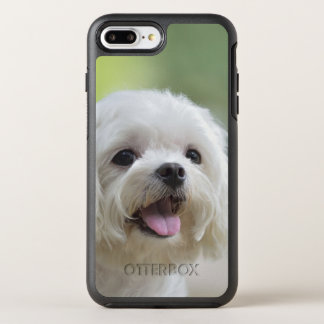 White maltese dog sticking out tongue OtterBox symmetry iPhone 7 plus case