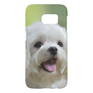 White maltese dog sticking out tongue samsung galaxy s7 case