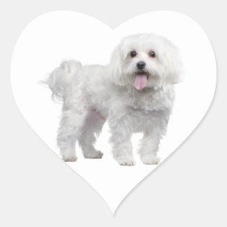 White Maltese Puppy Dog Heart Sticker / Label