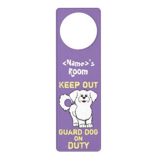 White Maltese Puppy Guard Dog on Duty Door Hanger