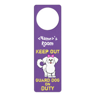 White Maltese with Pink Bow Guard Dog on Duty Door Knob Hanger
