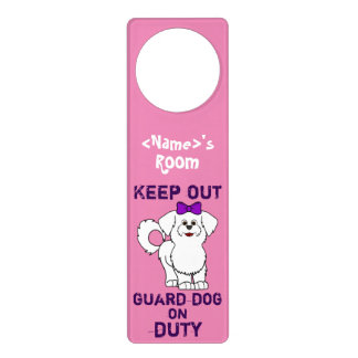 White Maltese with Purple Bow Guard Dog on Duty Door Hangers