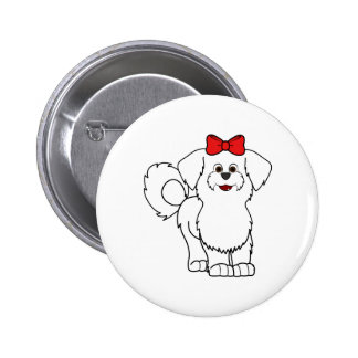 White Maltese with Red Bow Pinback Button
