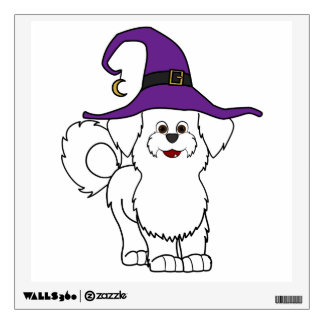 White Maltese with Witch Hat Room Sticker