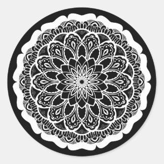 White Mandala Classic Round Sticker
