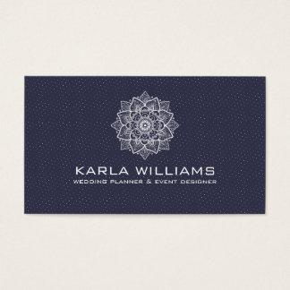 White Mandala & Dots Pattern Business Card