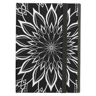 White Mandala on Black Geometric Pattern Case For iPad Air