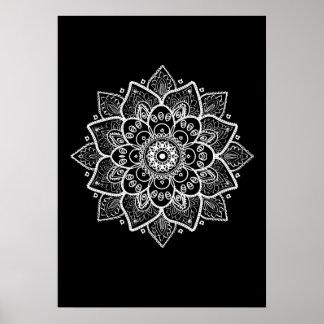 White Mandala On Black Poster
