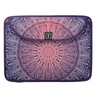 White Mandala on Purple Background Sleeve For MacBooks