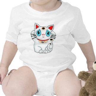 White Maneki Neko Beckoning Good Luck Cat T Shirts