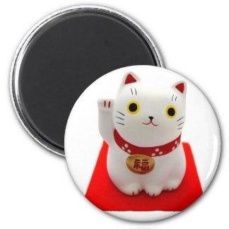 White Maneki Neko on a Red Carpet 2 Inch Round Magnet